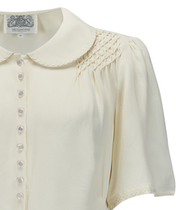 """Helen"" Blouse in Cream with Matching Cream Ric-Rac Details by The Seamstress Of Bloomsbury, Authentic & Classic 1940s Vintage Inspired Style"