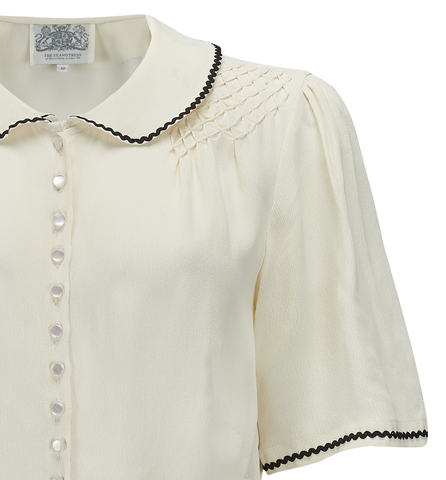 """Helen"" Blouse in Cream with Contrast Black Ric-Rac, Authentic 1940s Vintage Style - RocknRomance True 1940s & 1950s Vintage Style"