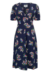 "Seamstress Of Bloomsbury ""Dolores"" Swing Dress in Navy Floral Dancer, A Classic 1940s Inspired Vintage Style"