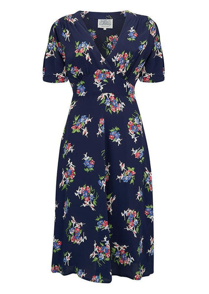 "NEW ""Dolores"" Swing Dress in Navy Floral Dancer by The Seamstress of Bloomsbury, A Classic 1940s Inspired Vintage Style"