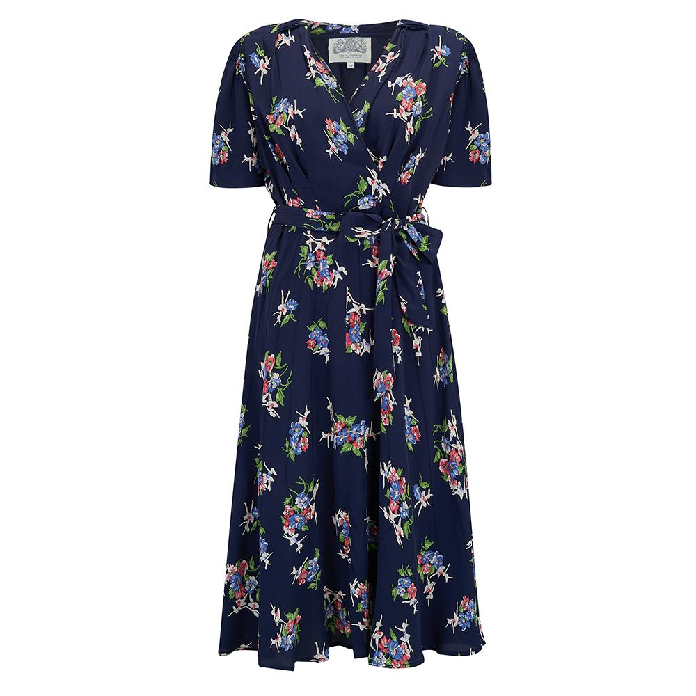 """Nancy"" Tea Dress in Navy Floral Dancer by The Seamstress of Bloomsbury, Classic 1940s Vintage Inspired Style"