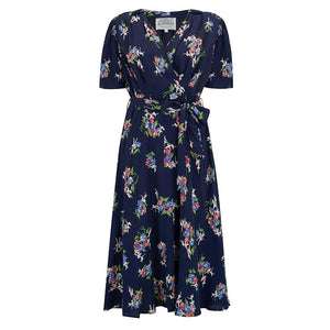 """Nancy"" Tea Dress in Navy Floral Dancer, Classic 1940s Vintage Inspired Style - RocknRomance True 1940s & 1950s Vintage Style"