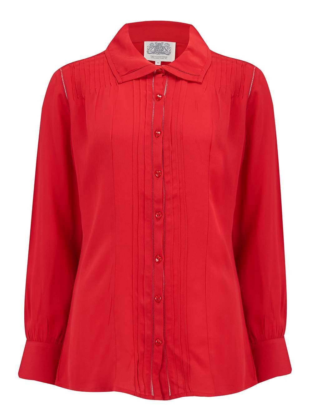 "The Seamstress Of Bloomsbury ""Alice"" Blouse in Red, Authentic & Classic 1940s Vintage Inspired Style - RocknRomance Clothing"