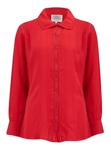 """Alice"" Blouse in Red, Authentic & Classic 1940s Vintage Inspired Style - RocknRomance True 1940s & 1950s Vintage Style"