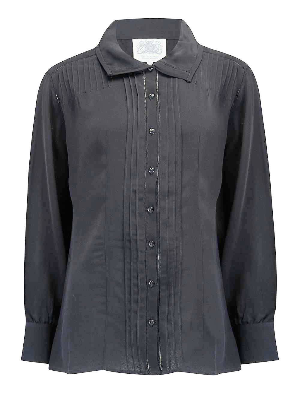 """Alice"" Blouse in Black by The Seamstress Of Bloomsbury, Authentic & Classic 1940s Vintage Inspired Style"