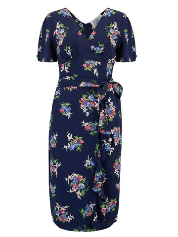 "The Seamstress Of Bloomsbury ""Lilian"" Dress in Navy Floral Dancer, Classic & Authentic 1940s Vintage Style - RocknRomance Clothing"