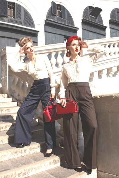 "The Seamstress Of Bloomsbury ""Audrey"" Tailored Trousers in BLACK WITH PINSTRIPE, Perfectly Authentic 1940s Vintage Inspired Style - RocknRomance Clothing"