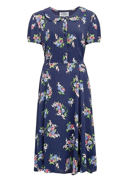"The Seamstress Of Bloomsbury ""Dorothy"" Swing Dress in Navy Floral Print, A Classic 1940s Inspired Vintage Style - RocknRomance Clothing"