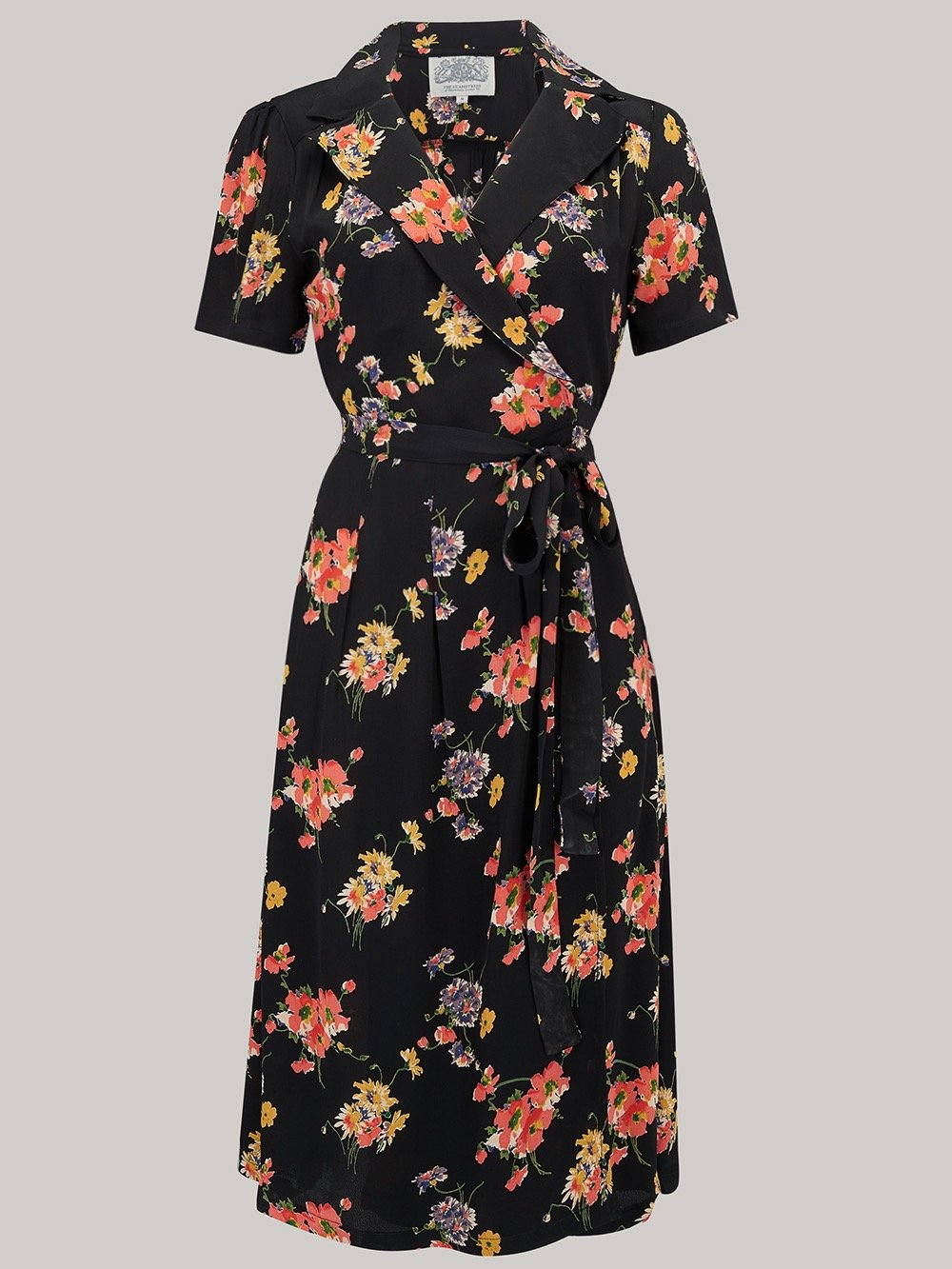 "The Seamstress of Bloomsbury ""Peggy"" Wrap Dress in Black with Mayflower Print, Classic 1940s Vintage Inspired - RocknRomance Clothing"