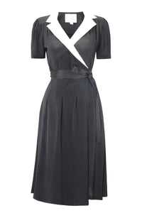 """Peggy"" Wrap Dress in Black with Cream Contrast Collar by The Seamstress of Bloomsbury, Classic 1940s Vintage Inspired"
