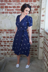 """Peggy"" Wrap Dress in Navy Blue with Doggy Print by The Seamstress of Bloomsbury, Authentic The 1940s Vintage Inspired Style"