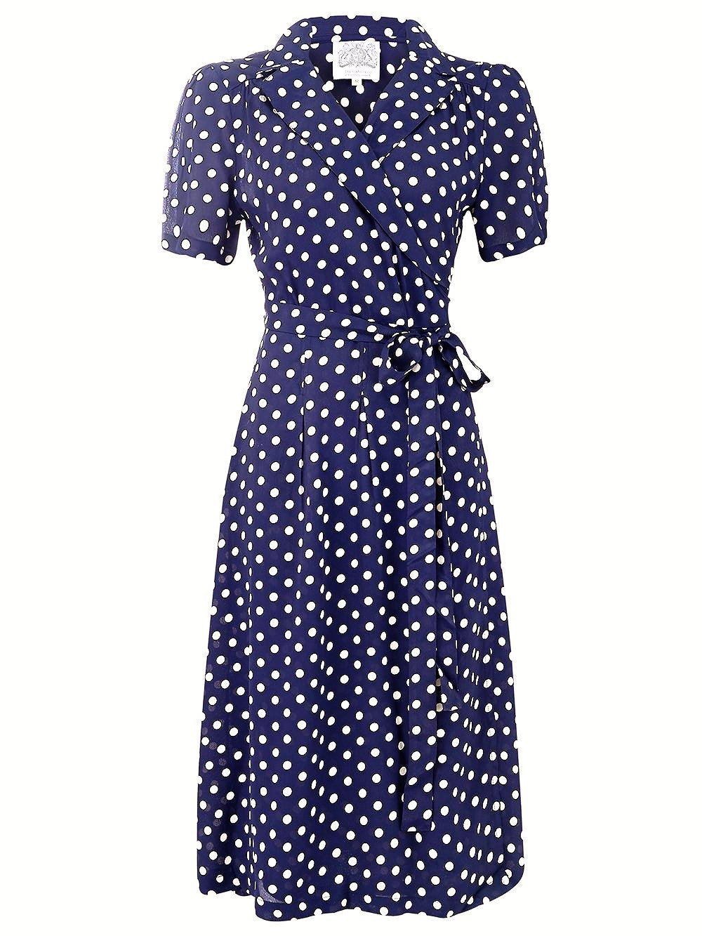 "The Seamstress of Bloomsbury ""Peggy"" Wrap Dress in Navy with Polka Dot Spot, Classic The 1940s Vintage Inspired Style - RocknRomance Clothing"