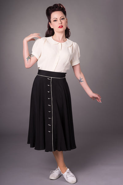 "1940s Style ""Rita"" Swing Skirt in Black with Ivory Detailing By The Seamstress Of Bloomsbury"