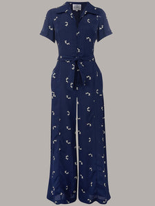 """Lauren"" Siren Suit in Navy with Doggy Print by The Seamstress of Bloomsbury Classic 1940s Style"