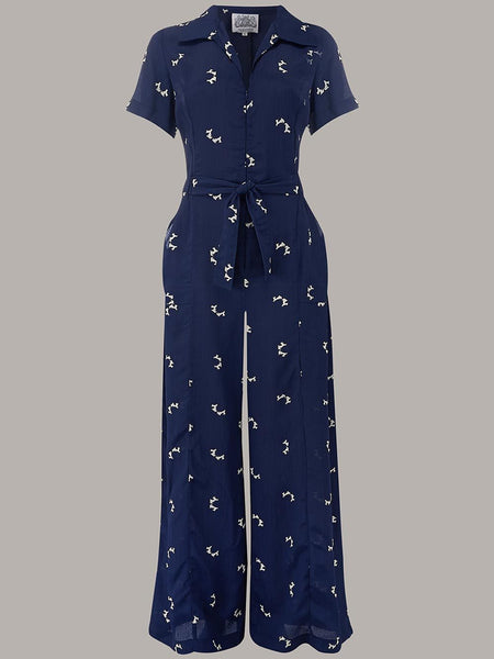"The Seamstress Of Bloomsbury ""Lauren"" Siren Suit in Navy with Doggy Print by The Seamstress of Bloomsbury Classic 1940s Style - RocknRomance Clothing"