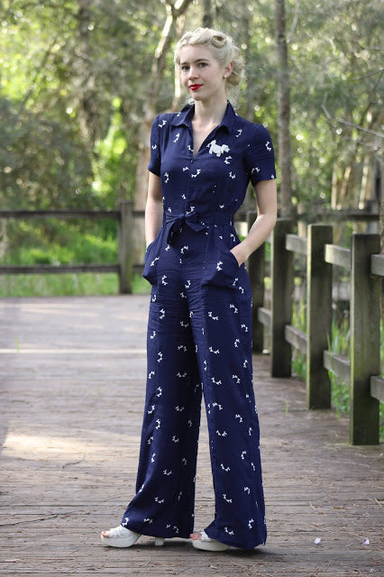 Authentic Vintage 1940/'s Style Lauren Siren Suit in Navy Floral by The Seamstress of Bloomsbury
