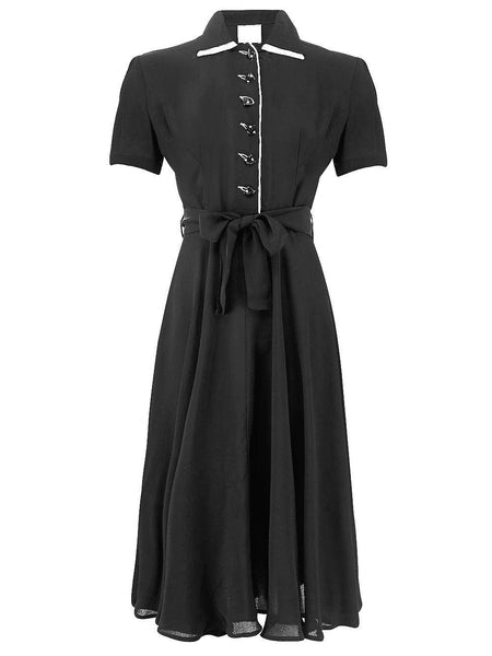 """Mae"" Tea Dress in Black with Cream Contrasts by The Seamstress of Bloomsbury, Classic 1940s Vintage Style Inspired"