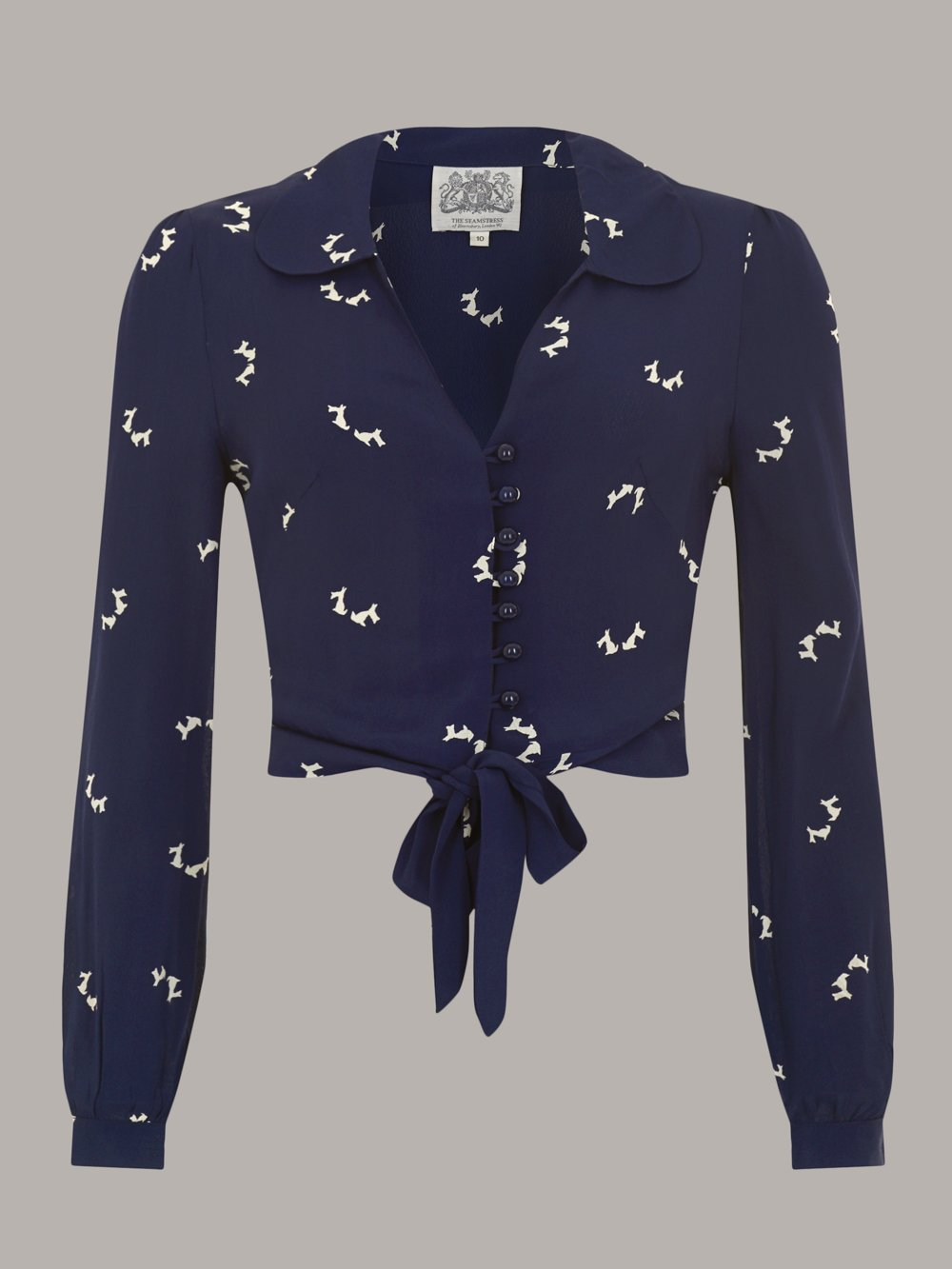 "The Seamstress Of Bloomsbury ""Clarice"" Long Sleeve Blouse in Navy Blue with Doggy Print, Authentic 1940s Vintage Style - RocknRomance Clothing"