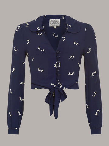 """Clarice"" Long Sleeve Blouse in Navy Blue with Doggy Print, Authentic 1940s Vintage Style - RocknRomance True 1940s & 1950s Vintage Style"