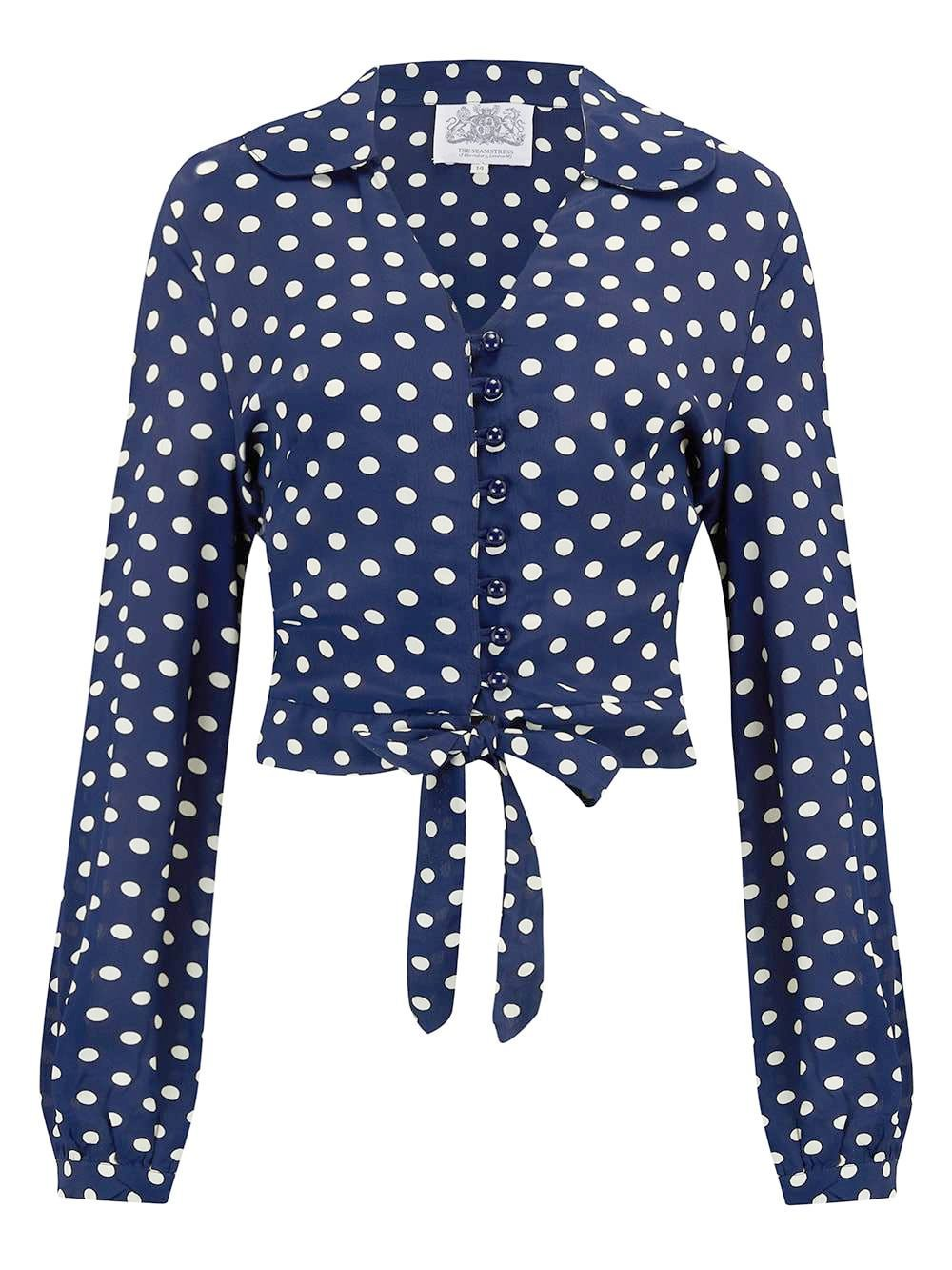 """Clarice"" Blouse in Blue with Polka Dot Sot Print by The Seamstress Of Bloomsbury, Classic 1940s Vintage Inspired Style"