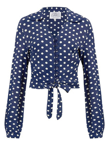 "The Seamstress Of Bloomsbury ""Clarice"" Blouse in Blue with Polka Dot Spot Print, Classic 1940s Vintage Inspired Style - RocknRomance Clothing"