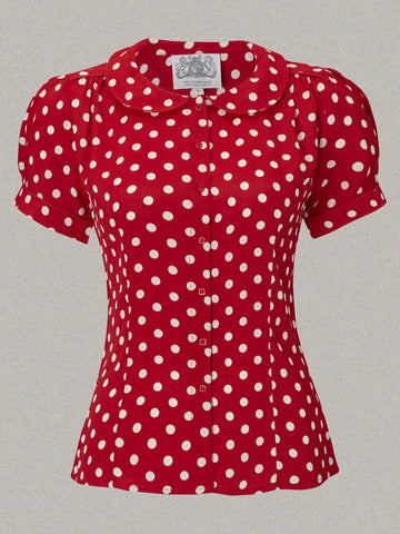 """Jive"" Short Sleeve Blouse in Red with Polka Dot Spot, Classic 1940s Vintage Style - RocknRomance True 1940s & 1950s Vintage Style"