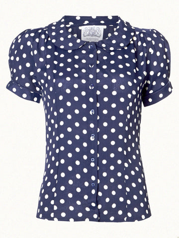 """Jive"" Short Sleeve Blouse in Navy with White Polka, Classic 1940s Vintage Inspired Style - RocknRomance True 1940s & 1950s Vintage Style"