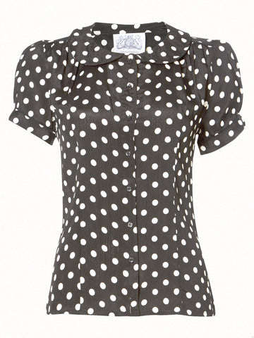 """Jive"" Blouse in Black with Polka Dot Spot, Classic 1940s Vintage Inspired Style - RocknRomance True 1940s & 1950s Vintage Style"