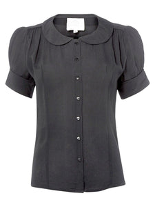 """Jive"" Short Sleeve Blouse in Black, Classic 1940s Vintage Style - RocknRomance True 1940s & 1950s Vintage Style"