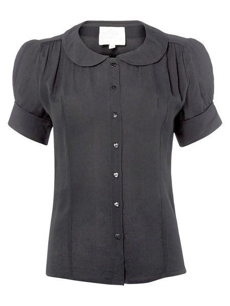 "The Seamstress Of Bloomsbury ""Jive"" Short Sleeve Blouse in Black, Classic 1940s Vintage Style - RocknRomance Clothing"