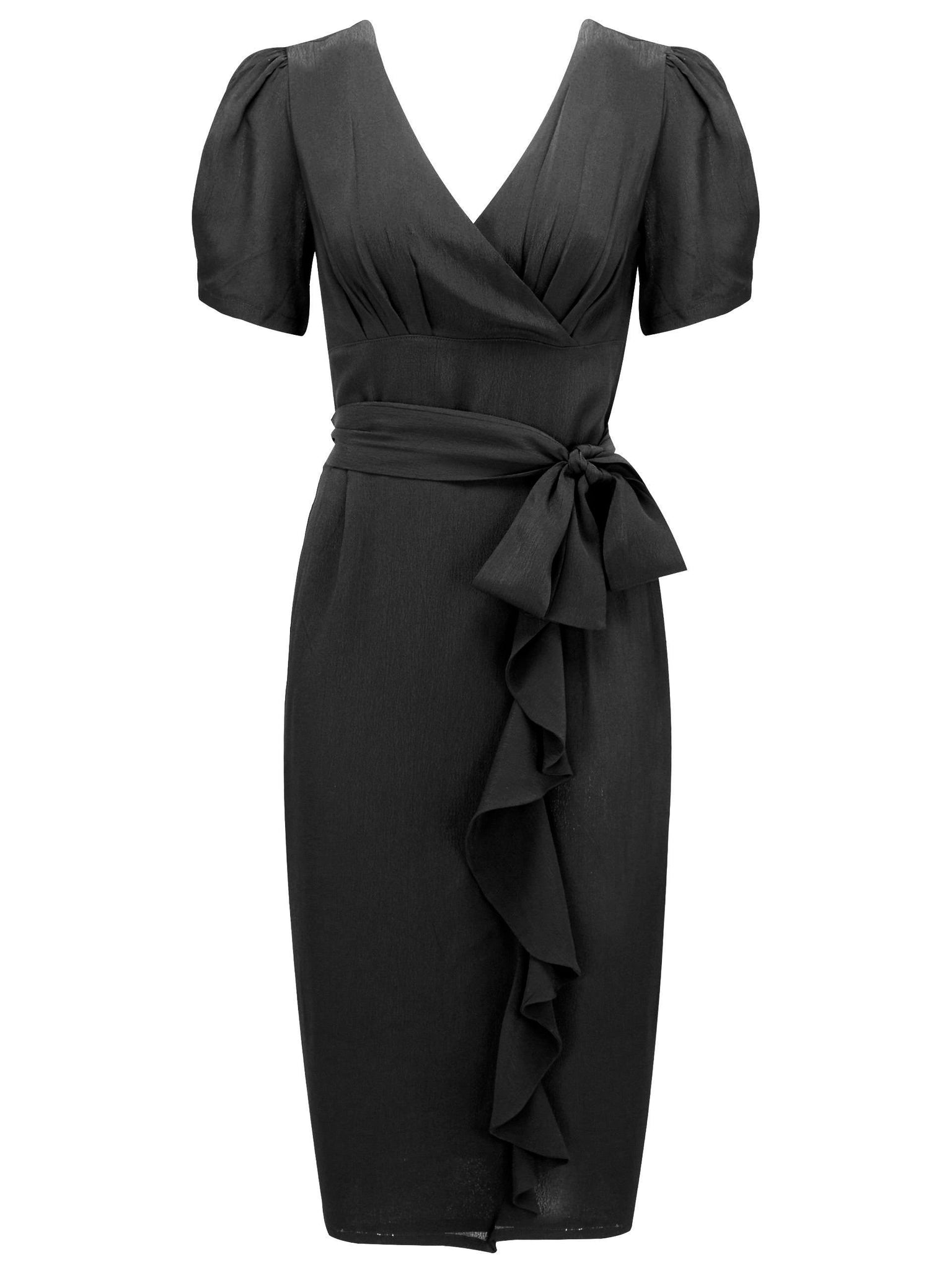 "The Seamstress Of Bloomsbury ""Lilian"" Sarong Dress in Black, A True Classic & Authentic 1940s Vintage Style - RocknRomance Clothing"