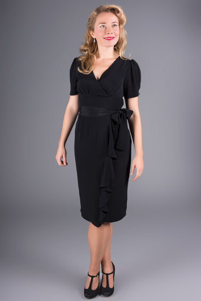 """Lilian"" Dress in Black by The Seamstress of Bloomsbury, Classic & Authentic 1940s Vintage Style"