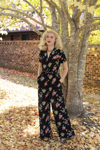 "The Seamstress Of Bloomsbury ""Lauren"" Siren Suit in Mayflower Plrint, Classic 1940s Vintage Holywood Style Inspired - RocknRomance Clothing"