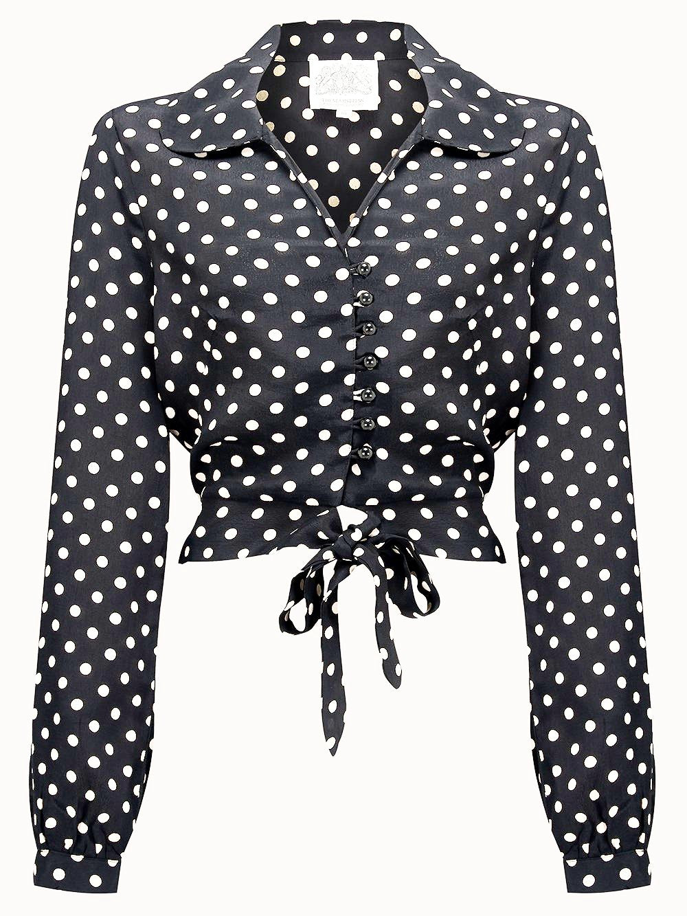 "The Seamstress Of Bloomsbury ""Clarice"" Long Sleeve Blouse in Black with Polka Spots, Authentic 1940s Vintage Style - RocknRomance Clothing"