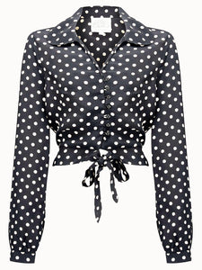 "The 1940s Vintage Inspired ""Clarice"" Blouse in Black with Polka Spots by The Seamstress Of Bloomsbury"