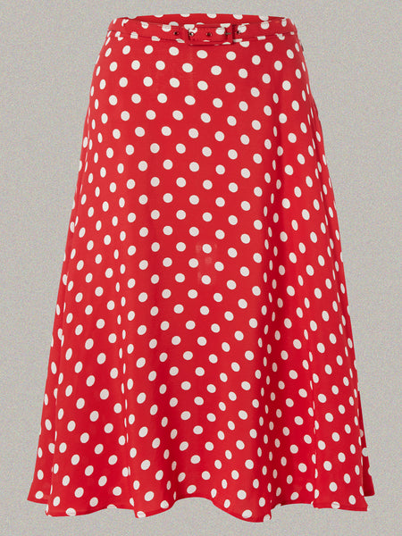 The Seamstress Of Bloomsbury Circle Skirt in Red Polka by The Seamstress Of Bloomsbury, Classic & Authentic Vintage 1940s Style - RocknRomance Clothing