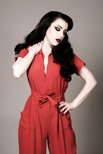 """Lauren"" Siren Jump Suit in Plain Red by The Seamstress of Bloomsbury, Classic 1940s Vintage Style"