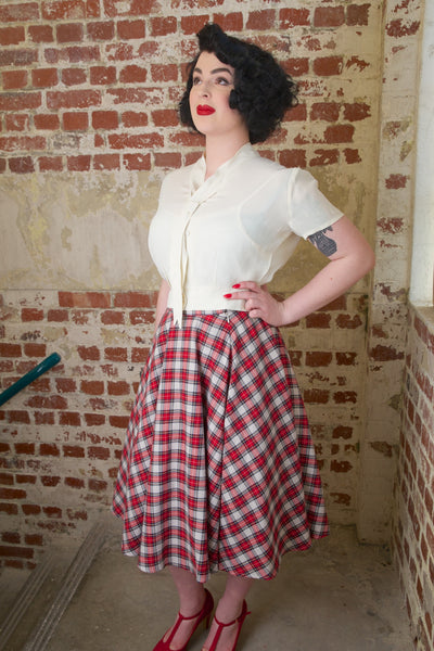 """Bonnie"" Blouse Cream by The Seamstress of Bloomsbury, Classic 1940s Vintage Inspired Style"