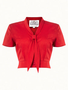 "The Seamstress Of Bloomsbury ""Bonnie"" Blouse in Red by The Seamstress of Bloomsbury, Classic & Authentic 1940s Vintage Inspired Style - RocknRomance Clothing"