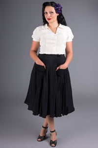 "The Seamstress Of Bloomsbury ""Thelma"" Skirt with Pockets in Black, Classic & Authentic 1940s Style - RocknRomance Clothing"