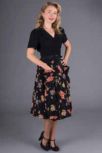 "The 1940s Vintage Inspired ""Thelma"" Skirt with Pockets in Mayflower Print by The Seamstress of Bloomsbury"