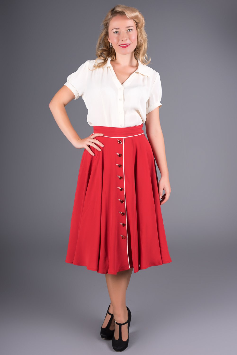 """Rita"" Swing Skirt in Red with Ivory Detailing, Classic 1940s Vintage Style by seamstress of bloomsbury"