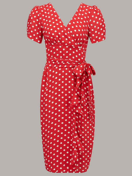 "The Seamstress Of Bloomsbury ""Lilian"" Dress in Red with Polka Dot Spot, Classic & Authentic 1940s Vintage Style - RocknRomance Clothing"