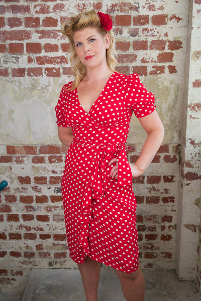 """Lilian"" Dress in Red with Polka Dot Spot by The Seamstress of Bloomsbury, Classic & Authentic 1940s Vintage Style"