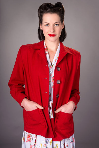 """Pearl"" Pendleton 49er Style Wool Jacket in 40s Red by The Seamstress Of Bloomsbury, Classic & Authentic 1940s Vintage Style"