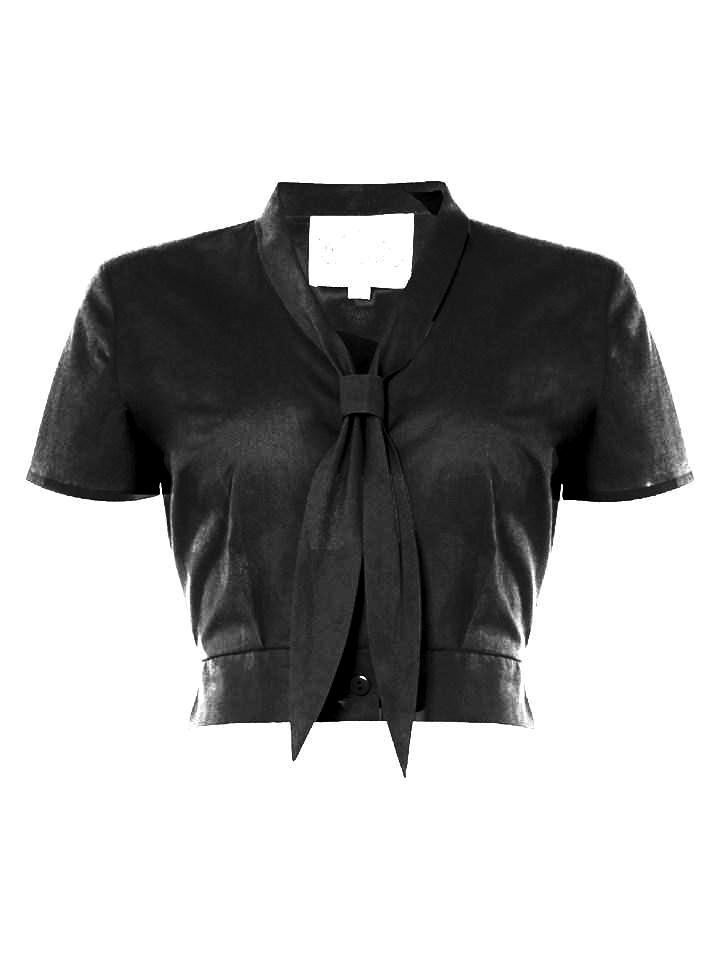 "The Seamstress Of Bloomsbury ""Bonnie"" Blouse in Black by The Seamstress of Bloomsbury, Classic 1940s Vintage Inspired Style - RocknRomance Clothing"
