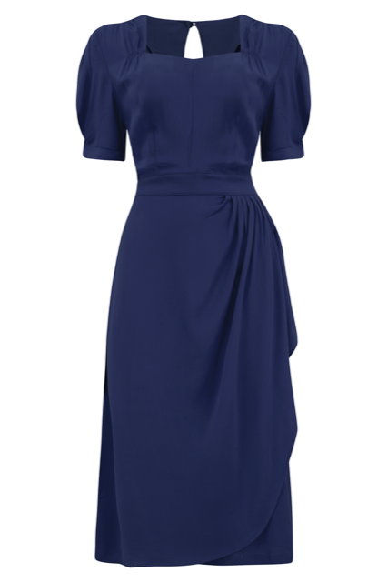 Pin Up Girl Costumes | Pin Up Costumes Shelly Dress in Navy Blue A Classic 1940s Inspired wiggle dress True Vintage Style £79.00 AT vintagedancer.com