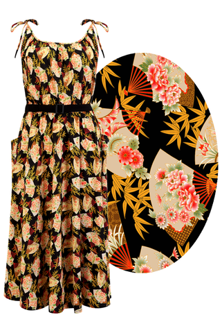 "Rock n Romance ""Suzy"" Sun Dress (PLUS Free Black Bolero), Oriental Fan Print, 1950s Vintage Style - RocknRomance Clothing"