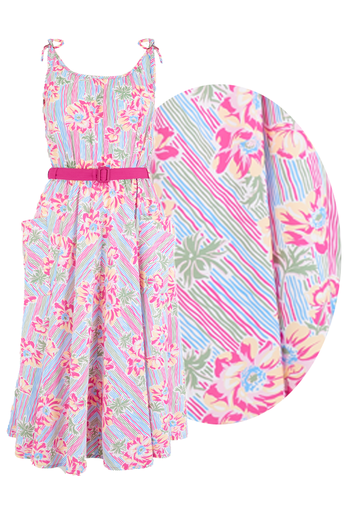 Retro Tiki Dress – Tropical, Hawaiian Dresses Sample Sale The Suzy Sun Dress in Pacific Garden Print Easy To Wear Tiki Style From The 50s £25.00 AT vintagedancer.com