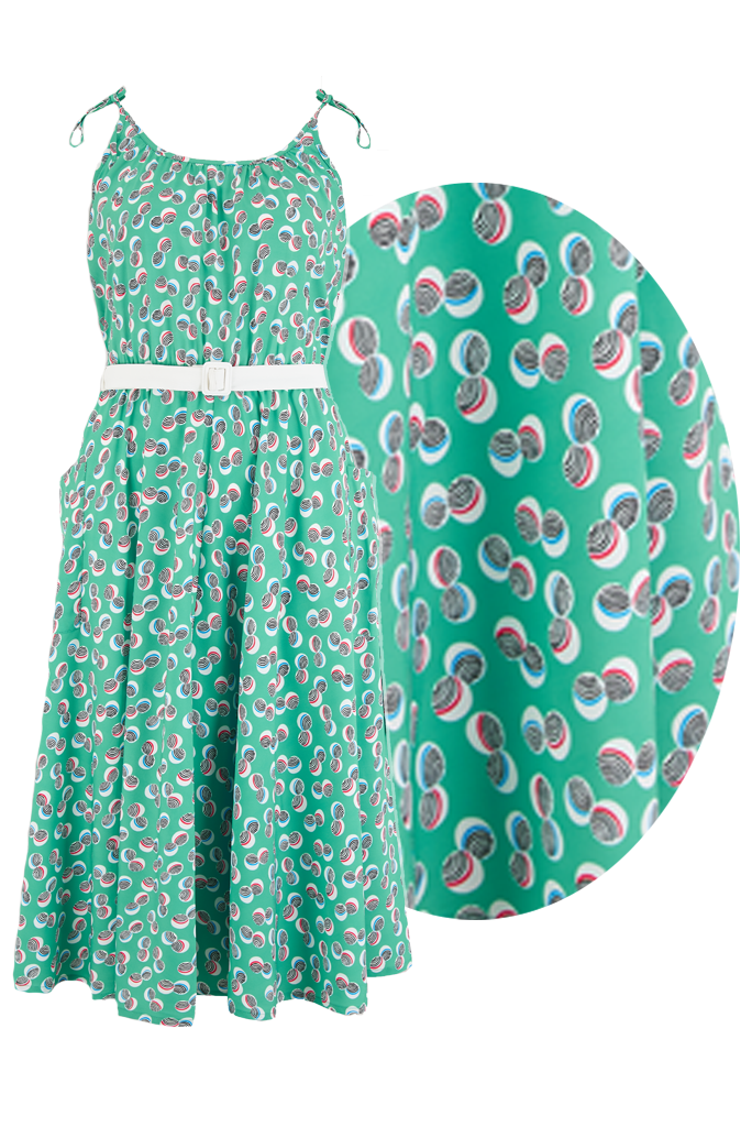 Retro Tiki Dress – Tropical, Hawaiian Dresses Sample Sale The Suzy Sun Dress in Green Abstract Polka Print Easy To Wear Style From The 50s £25.00 AT vintagedancer.com
